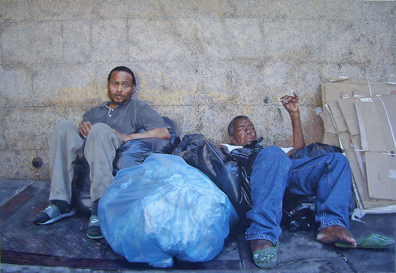 Homeless street painting by hyperrealist artist Denis Peterson