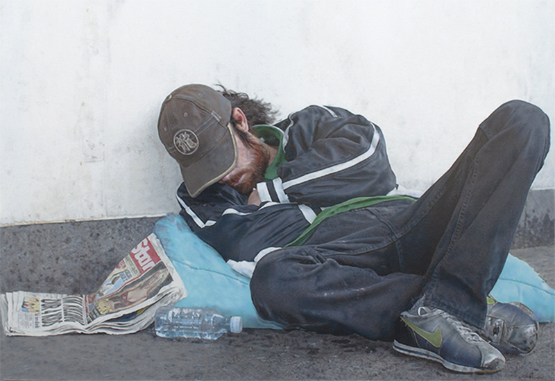Homeless hyperrealism street painting by Denis Peterson based on photography by Hugh Hill