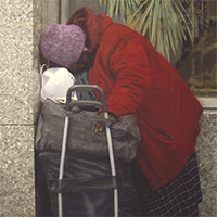 Hyperrealism painting MOMA of NYC homeless at Museum of Modern Art by Denis Peterson